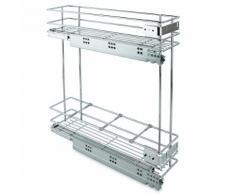 Portabottiglie Estraibile Per Mobile Da Cucina 15 Cm Chiusura Soft In Acciao Cromato Emuca