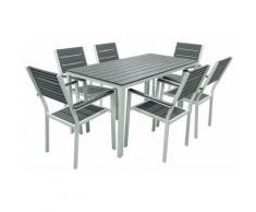 Set Tavolo E 6 Sedie Da Giardino In Acciaio Altair Bianco E Grigio Antracite