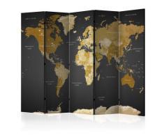 Paravento 5 Pannelli - World Map On Dark Background 225x172cm Erroi