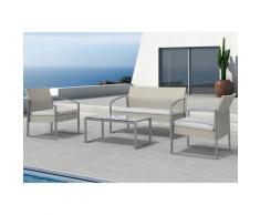 Set Salotto Da Giardino Divano + 2 Poltrone + Tavolino Alicante Bianco