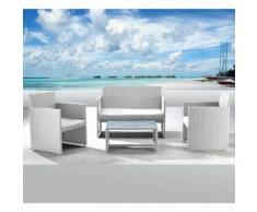 Set Salotto Da Giardino Divano + 2 Poltrone + Tavolino Valencia Bianco