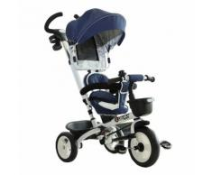 Passeggino Triciclo Per Bambini Con Maniglione Tetto Parapioggia Regolabile E Cestino Blu Benzoni
