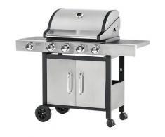 Barbecue A Gas Gpl 4 Fuochi 3kw Con Fornello Laterale Acciaio