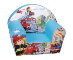 Poltroncina Per Bambini 33x40x55cm Tessuto Sfoderabile Con Pompieri Miller Blu