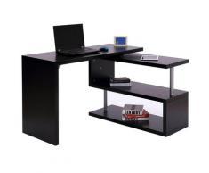 Scrivania Da Ufficio Angolare Per Computer Con Scaffali In Legno Nero 120x106x75 Cm Benzoni