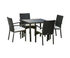 Set Tavolo Con 4 Sedie Da Giardino In Rattan Nero