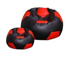 Poltrona A Sacco Pouf Ø100 Cm In Ecopelle Con Poggiapiedi Baselli Pallone Da Calcio Nero E Rosso