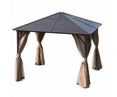 Gazebo Da Giardino 3x3m In Alluminio Tende Laterali Marrone E Nero Miozzi