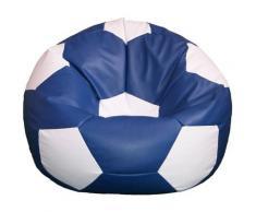Poltrona A Sacco Pouf Ø100 Cm In Ecopelle Baselli Pallone Da Calcio Blu E Bianco