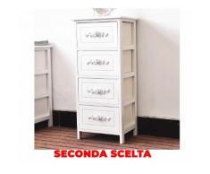 Cassettiera 4 Cassetti In Legno Massello 36x29x81 Cm Fumer Camilla Bianca Seconda Scelta