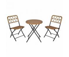 Set Tavolino E 2 Sedie Pieghevoli Da Giardino In Rattan E Acciaio