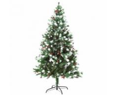 Albero Di Natale Artificiale Innevato 150 Cm 554 Rami Con Bacche Rosse Hmc Pino Verde