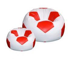 Poltrona A Sacco Pouf Ø100 Cm In Ecopelle Con Poggiapiedi Baselli Pallone Da Calcio Bianco E Rosso