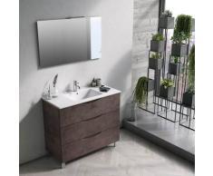 Mobile Bagno Sospeso 100 Cm Lavabo Specchio E Lampada A Led Tft Marte Pietra Marrone