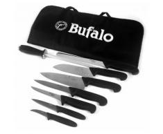 Set Coltelli 8 Pezzi Multiuso Con Fodero Bufalo Kit Pro Manico Nero