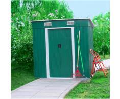 Casetta Box Da Giardino Verde In Lamiera Per Deposito Attrezzi 194x121x182 Cm