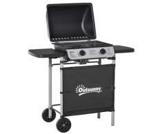 Barbecue A Gas Gpl 2 Fuochi 2,8kw In Acciaio Con Ruote E Mensole Nero