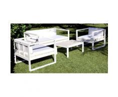 Set Da Giardino Divano Poltrone E Tavolino In Polyrattan Morel Montreal Bianco