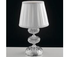 Lume Finitura Cromata Vetro Cristallo Paralume Tessuto Lampada Da Tavolo Classica E14 Ambiente I-incanto/l1