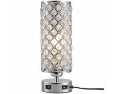 Lampada Da Comodino Abat Jour Con Paralume In Cristallo E 2 Porte Usb Ø10,8x30 Cm Benzoni