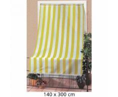 Tenda Da Sole Per Sormonto 140x300cm Con Anelli Tessuto A Strisce Giallo