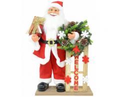 Pupazzo Babbo Natale H60 Cm Con Slitta E Luci Vanzetti Rosso