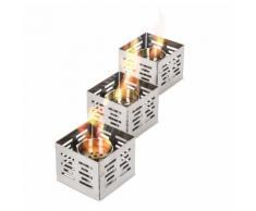 Set 3 Bruciatori A Bioetanolo Da Tavolo 10x10x8 Cm In Acciaio Stones Lanterna