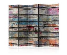 Paravento 5 Pannelli - Colourful Wood Ii 225x172cm Erroi