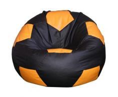 Poltrona A Sacco Pouf Ø100 Cm In Ecopelle Baselli Pallone Da Calcio Nero E Arancione