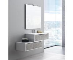 Mobile Bagno Sospeso 90 Cm Lavabo Specchio E Lampada A Led Tft Belsk 2 Bianco E Cemento