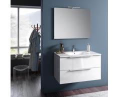 Mobile Da Bagno Sospeso Con Lavabo Specchio E Lampada A Led Tft Luna Bianco Lucido