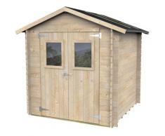 Casette Box Da Giardino In Legno Porta Utensili 198x198x215 Cm Con 2 Porte E Finestre Ecla Hobby