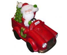 Pupazzo Babbo Natale In Resina 41x31x23 Cm Con Luci Adami Macchina Rossa