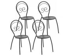Set 4 Sedie Da Giardino 42x54x85 Cm In Acciaio Pasotti Fiona Antracite