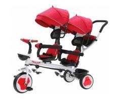 Passeggino Triciclo Gemellare Pieghevole Con Sedile Girevole 360° Kidfun Tricygò Rosso