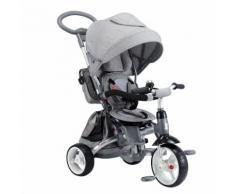 Triciclo Per Bambini Passeggino Seggiolino Reversibile 6in1 Happy Kids Grigio