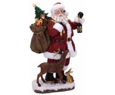 Babbo Natale In Resina H49,5 Cm Con Regali E Renna Adami