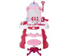 Postazione Trucco Specchiera Giocattolo Per Bambini Con Sgabello Benzoni Rosa E Bianco