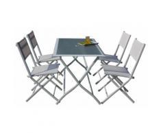 Set Tavolo E 4 Sedie Pieghevoli Da Giardino In Acciaio Bauer Astro Bianco