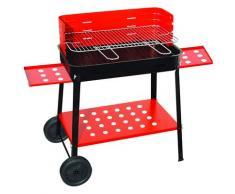 Barbecue A Carbone Carbonella In Acciaio Con Ruote Bauer Rosso