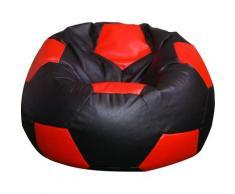 Poltrona A Sacco Pouf Ø100 Cm In Ecopelle Baselli Pallone Da Calcio Nero E Rosso
