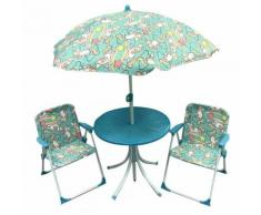 Set Tavolino + 2 Sedie Da Giardino Per Bambini Soriani Unicorni Blu