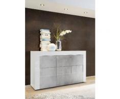 Credenza Mobile Da Salotto 3 Porte 138x42x84cm Tft Build Bianco Lucido E Cemento