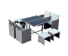 Set Tavolo E 4 Sedie Da Giardino In Rattan Sintetico E Acciaio Con 4 Poggiapiedi Grigio Miozzi
