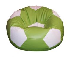 Poltrona A Sacco Pouf Ø100 Cm In Ecopelle Baselli Pallone Da Calcio Verde Limone E Bianco