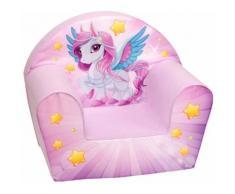 Poltroncina Per Bambini 33x40x55cm Tessuto Sfoderabile Con Pony Miller Rosa
