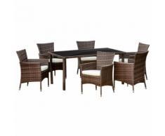 Set Tavolo Con 6 Sedie Da Giardino In Rattan Marrone