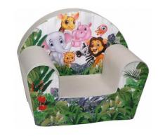 Poltroncina Per Bambini 33x40x55cm Tessuto Sfoderabile Con Animali Miller Bianco