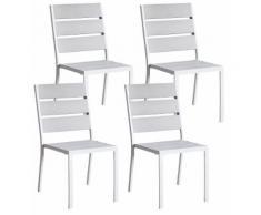 Set 4 Sedie Da Giardino In Alluminio Kraus Modigliani Bianche E Grigio
