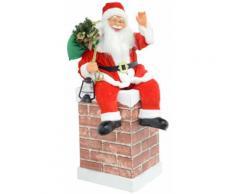 Pupazzo Babbo Natale H75 Cm Seduto Con Luci E Suoni Vanzetti Rosso